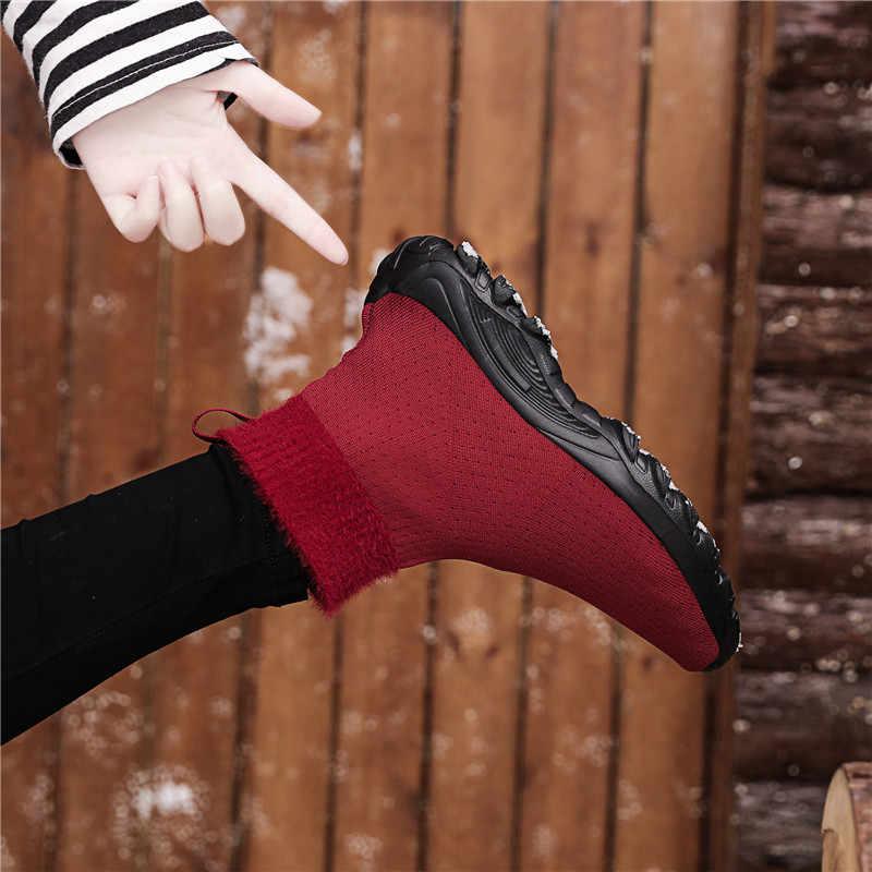ERNESTNM rahat örgü çorap kış kadın kırmızı bayanlar düz ayakkabı Botas Mujer Invierno kaliteli streç kumaş ayak bileği patik