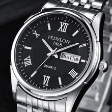 FEDYLON брендовые новые мужские наручные часы модные роскошные Бизнес Кварцевые часы для мужчин сталь Дата Неделя двойной дисплей Hodinky Erkek Saat