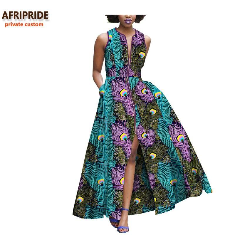 2018 البوهيمي نمط النساء اللباس AFRIPRIDE العرف الخاص الأفريقي أكمام الكاحل طول سستة اللباس 100% القطن الخالص A722590-في فساتين من ملابس نسائية على  مجموعة 1