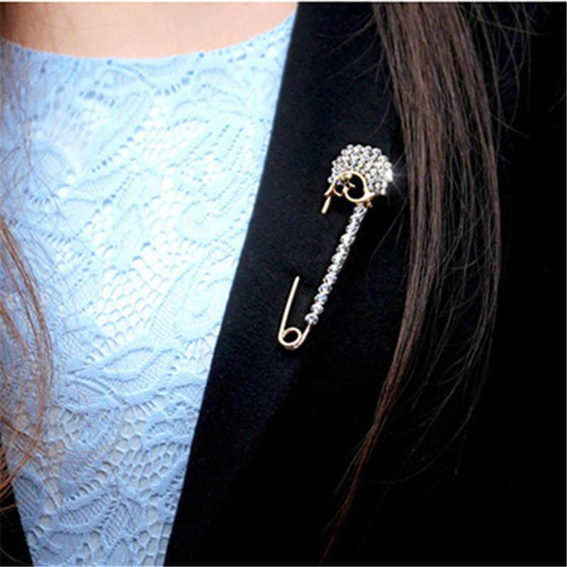 Vintage Kristal Bros Pin Dress Hiasan Berlian Imitasi Gesper Perhiasan Bros untuk Pria Wanita Brocade Jilbab Pin Aksesoris Hadiah