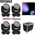 4 + flycase светодиодный зум-луч моющаяся движущаяся головка 19X15 Вт RGBW DMX Disco вечерние светильник s RGBW 4в1 сценическое оборудование вращающийся дви...