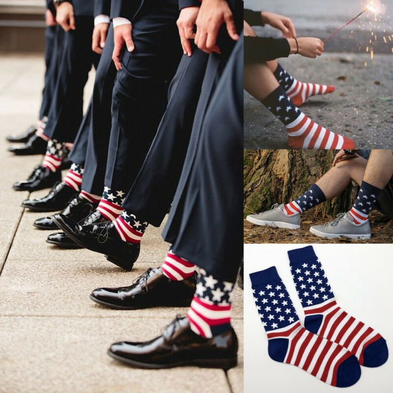 Men USA American Flag   Patriotic Stars Stripes Mens Crew Socks