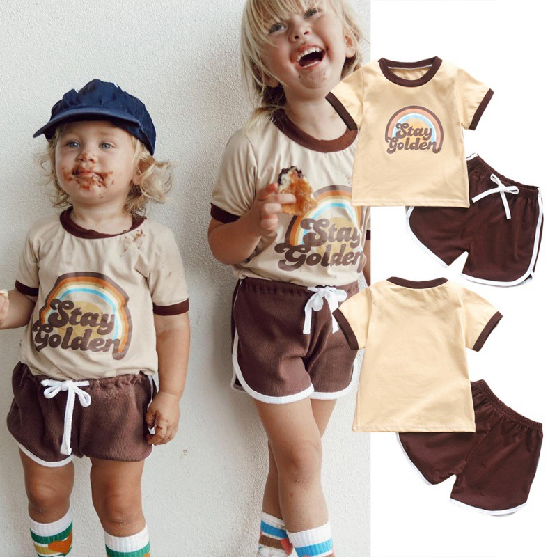 Kid Clothes Boys Girls Summer Cartoon Letter Print Sport Suit Baby Kid Short Sleeve T Shirt Shorts Clothes Costume Set