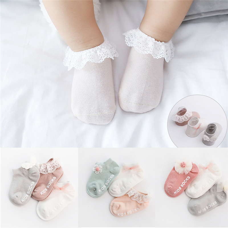 3 Pairs/lot Children's Socks Boys Girls Newborn Fashion Lace Flower Baby Socks Infant Boys Candy Color Socks For Baby Gifts