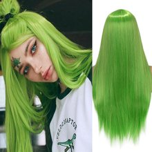 Wignee – perruque synthétique longue et lisse, en Fiber verte, résistante à la chaleur, avec raie centrale naturelle, pour femmes, Cosplay