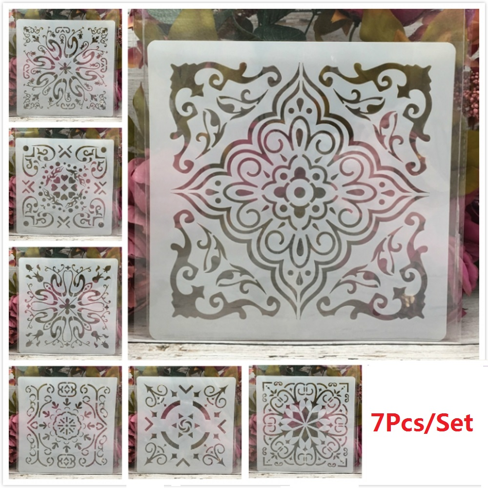 7Pcs/Set 20*20cm Window Frame Geometry DIY Layering Stencils Painting Scrapbook Coloring Embossing Album Decorative Template