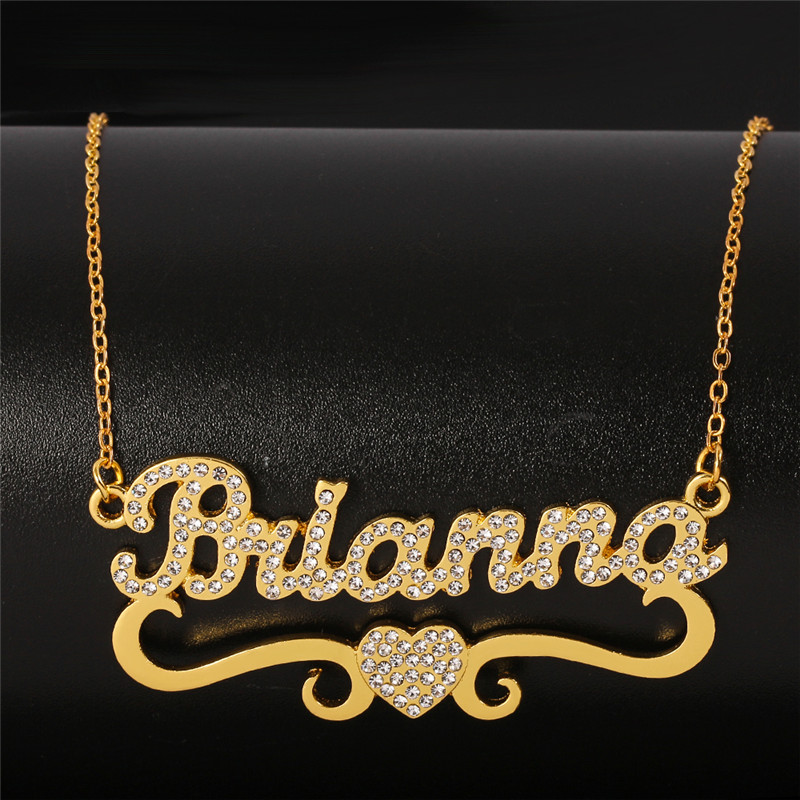Customized Heart Personalized Name Necklace & Pendants For Women bling jewelry iced out Initial Choker Custom bling necklace|Customized Necklaces| - AliExpress
