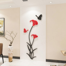 Crystal Acrylic 3d Flower Butterfly Wall Sticker Bedroom Restaurant TV Background Decoration Home Decor