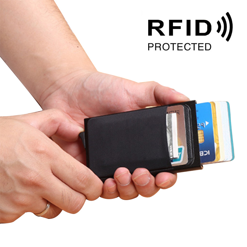 LILY QUEEN RFID Credit Card Holder Automatic Blocking Business Men Leather Patchwork Metal Slim Coin Pouch Wallets