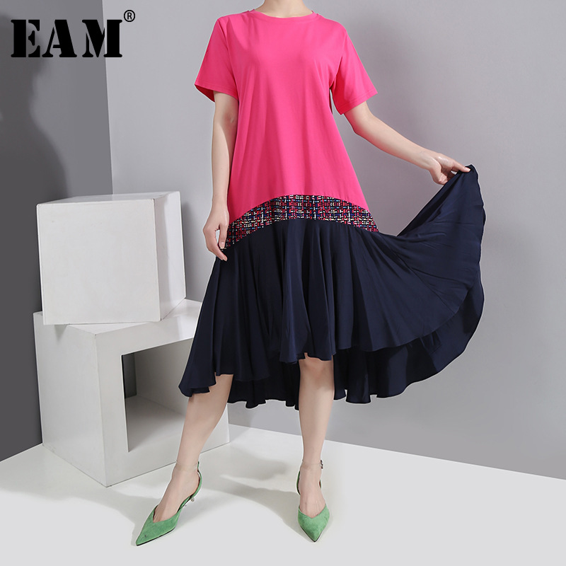 [EAM] Women Contrast Color Pleated Temperament Dress New Round Neck Short Sleeve Loose Fit Fashion Tide Spring Summer 2020 1S760