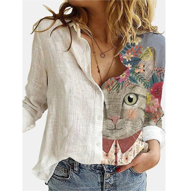 2021 Spring Summer Elegant Blouses Women's Vintage Print Long Sleeve Shirts Ladies Fashion Casual Tops Loose Lapel Blouse Блузки 5