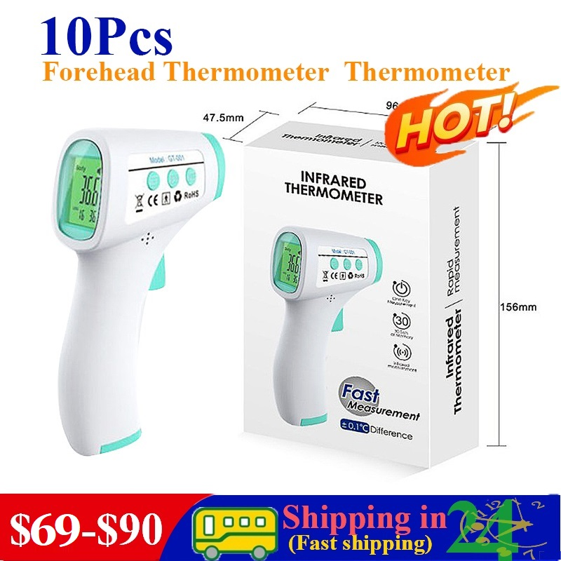 10Pcs Baby Adults Outdoor Home Digital Infrared Fever Ear Thermometer Infrared Thermometer Forehead Body Non-Contact Thermometer