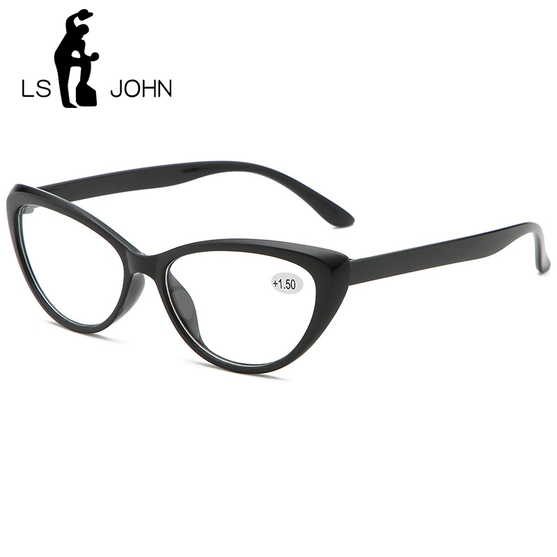 LS JOHN Cat Eye Reading Glasses Women Ultralight Computer Eyewear Presbyopic With Diopter1.0 1.5 2.0 2.5 3.0 3.5 4.0 For Readers