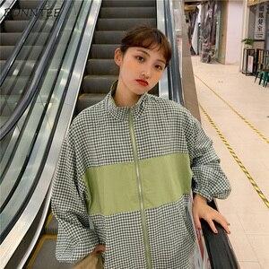 Image 3 - Giubbotti Donne Plaid BF Coreano Harajuku Ulzzang Stile Manica Lunga casual Delle Donne Giacca All partita di Base Allentata di Alta Qualità alla moda