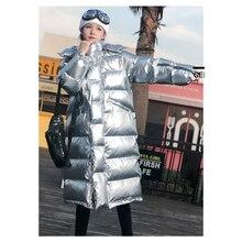 Warm Patent leather Glossy Parka Women Zipper Jacket women windbreaker Coat 2019 Winter Glossy Down Parka For Wome AA-515
