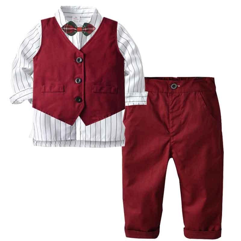 Kids Gentleman Suit Boys Formal Suits Birthday Wedding Party Clothes Kids Waistcoat Shirt Pant Bowtie 4Pcs Clothing