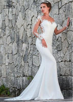 Garden Wedding Gown Modern Fashion Princess White Ivory Scoop Long Sleeve Sheer Custom Mermaid Lace Bridal Dress Robe de Mariee