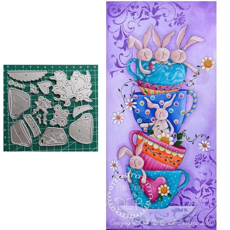 Lapin tasse à thé en métal matrices de découpe pour matrices Scrapbooking artisanat fournitures papier carte faisant pochoir matrices gaufrage die