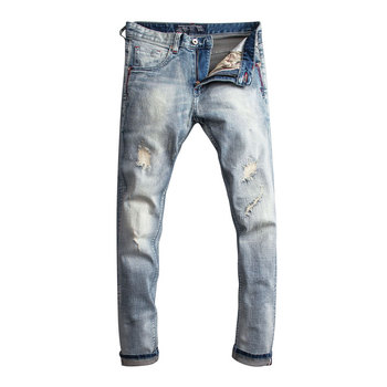 Fashion Streetwear Men Jeans Light Blue Slim Fit Patchwork Ripped Jeans Homme High Quality Italian Vintage Designer Jeans Men fashion designer men jeans blue 100