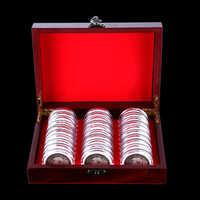 30 pièces 21.5*18*6.5cm boîte ronde en bois porte-pièces de monnaie boîte de rangement en bois boîte de Collection d'affichage en bois + plastique