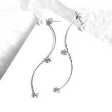 ZOBEI Real 925 Sterling Silver Chain Wave Tassel Elegant  Drop Earrings For Women Cute Party Minimalist Fine Jewelry 2019 Gift