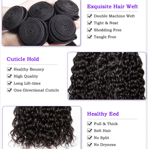 Image 5 - Shireen Brazilian Hair Water wave Bundles With Lace Closure Non Remy 4 Bundles Deals Human Hair Bundles With 4*4 Lace Closure