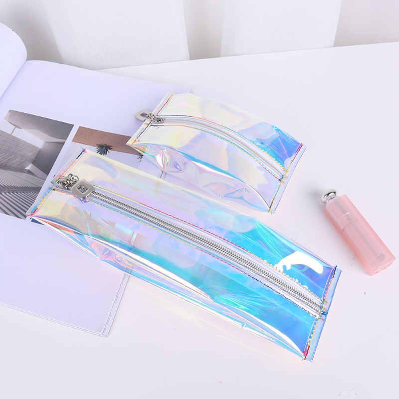 1pc nowy Laser etui na przybory do makijażu wodoodporny z tworzywa TPU kosmetyczka dla kobiet przezroczysta torba na kosmetyki kobieta torebka typu Jelly Bag