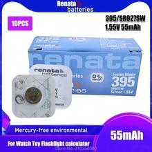 10 pçs renata 395 100% original brandnew prata óxido relógio bateria de longa duração sr927sw lr57 lr927 ag7 botão da pilha moeda