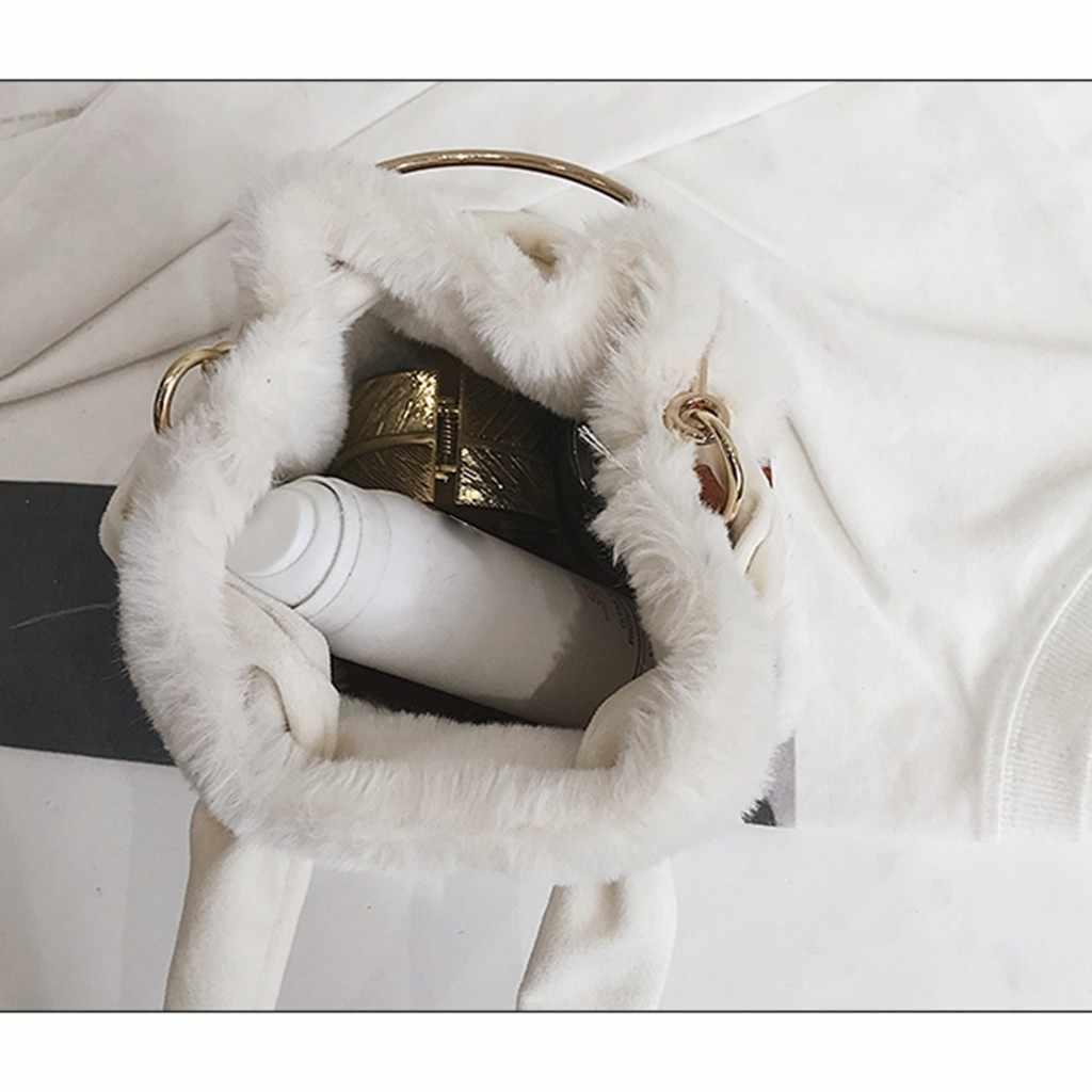 Natal Tas Tangan Tas Bahu untuk Wanita 2019 Tas Mewah Wanita Season Lucu Bulu Wanita Tas Tangan untuk Musim Dingin Elegan Selempang tas