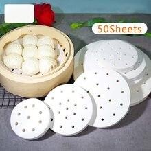 50 pçs branco redondo bolinhos esteira vapor de papel não vara pads cozimento pastelaria dim sum papel sob vapor esteira cozinhar ferramentas