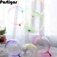 10 stücke 18 Zoll Doppel Farbe Kristall Blase Ballons Runde Bobo Transparent Ballon Hochzeit Geburtstag Party Helium Aufblasbare Decor