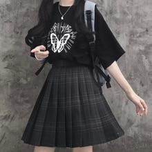 Gothic Harajuku Plaid Skirt Women Kawaii Cute Black Pleated Mini Skirt Japanese School Uniform for Girls Preppy Style JK
