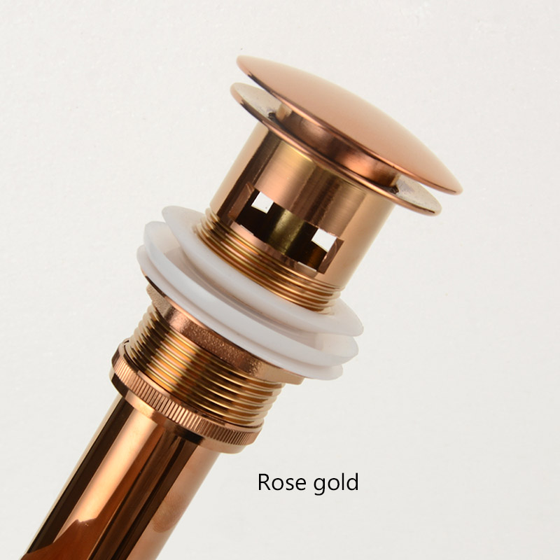 Brass Drain Black/White/Chrome Plated/Gold/rose gold/ORB Bathroom Basin Push Down Pop-Up Drain With/Without Overflow Hole Design 6