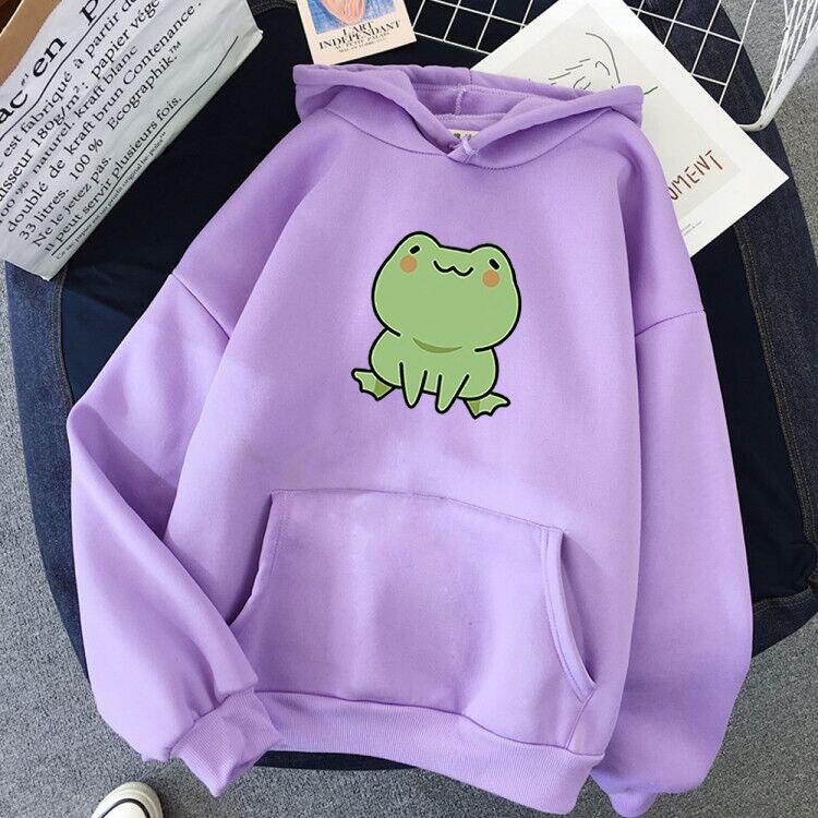 Women Hoodies Harajuku Long Sleeve sweatshirt women Cute Animal Frog Printed Hoodie Pocket Casual Pullover Loosen Tops gdragon 17