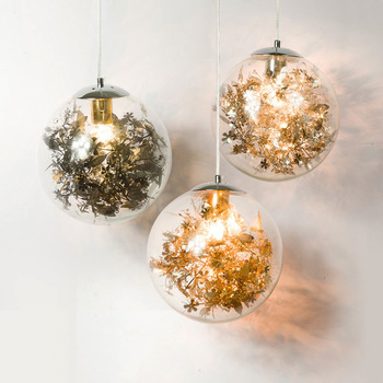 Nordic modern decorative glass ball chandelier window Gallery study simple art personality warm shadow lamp
