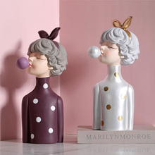 Fashion Birthday Gift Blowing Bubble Girl Statue Girl Bust Home Decoration Accessories Room Decor Nice Gift For Girlfriend Wife