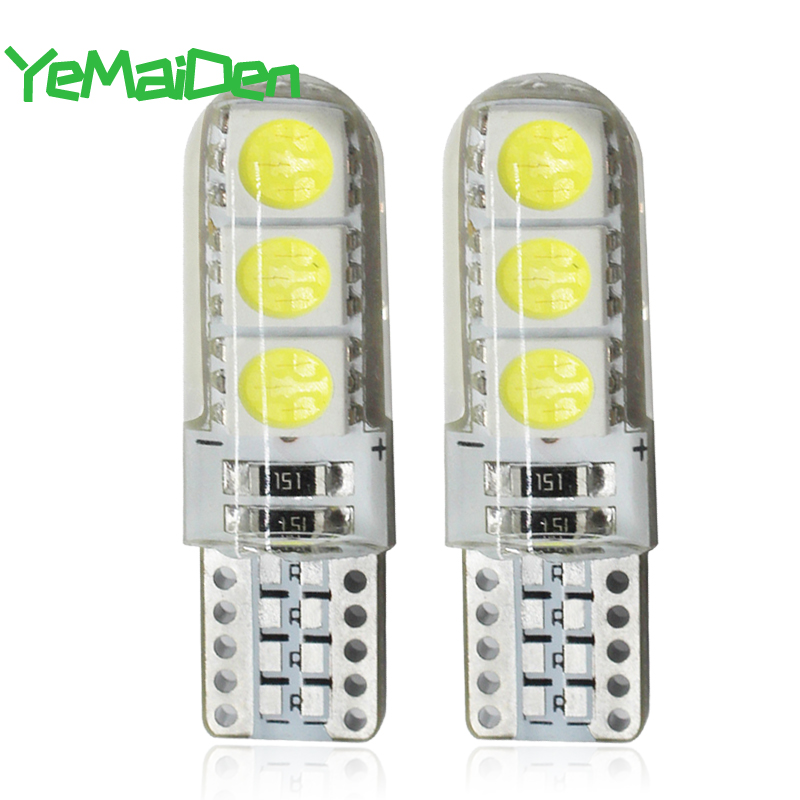 Silicone W5W LED Bulb 5W5 12V 7000K 6 SMD T10 LED Car Interior Dome Reading Light Auto Wedge Side License Plate Lamp White 194