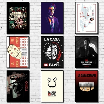 La Casa De Papel Poster Whitepaper Money Heist Poster Art Painting Abstract Fancy Wall Sticker for Coffee House Bar image