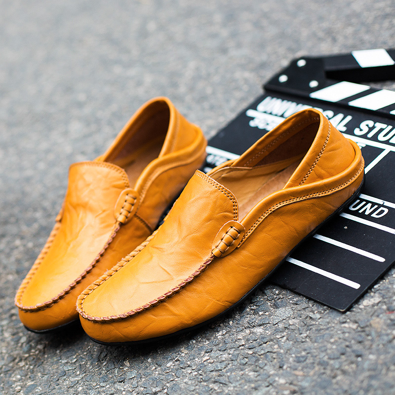 Comfortable Loafers Moccasins Driving-Shoes Slip-On Genuine-Leather Casual Fashion Waterproof