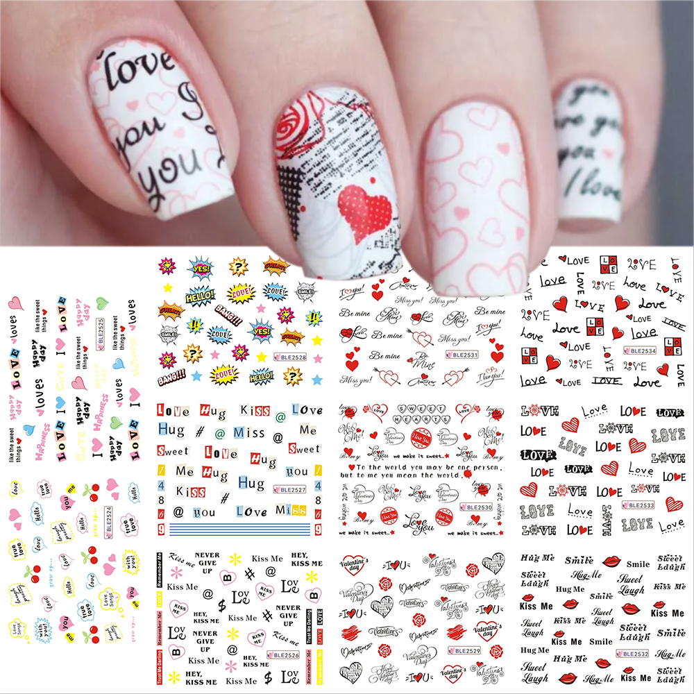 12pcs Valentines Manicure Love Letter Flower Sliders for Nails Inscriptions Nail Art Decoration Water Sticker Tips GLBN1489-1500 13