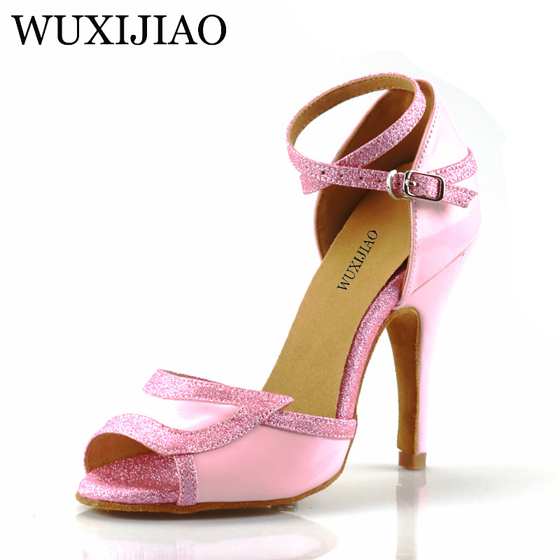 WUXIJIAO Latin dance shoes Tango ladies pink PU ladies Latin dance shoes Latin gloss shoes