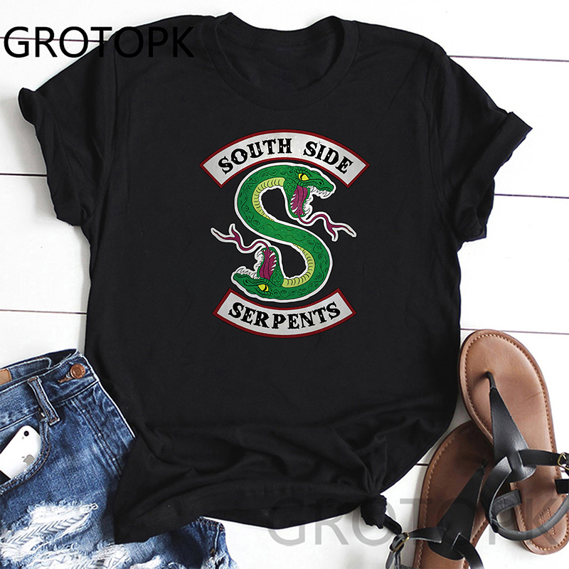Riverdale South Side Serpents Short Sleeve T Shirt Summer Black Graphic Tees Vintage Top Female Clothes