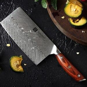 Image 5 - XINZUO 7 الساطور سكين 67 طبقات دمشق الصلب سكاكين المطبخ وصول جديد تقطيع سكين مع نوعية جيدة ارتفع الخشب مقبض