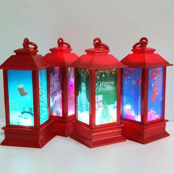 Vintage Outdoor Candle Lantern with LED Light Snowman/Sled Christmas Party Decor image