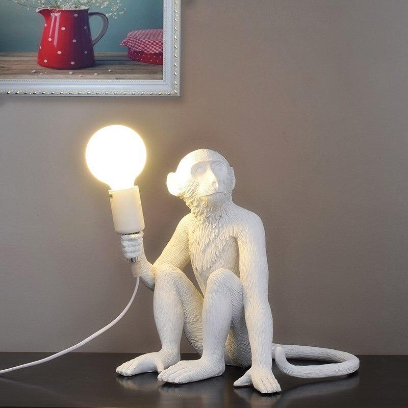 Resin Black White Monkey Pendant Light For Living Room Lamps Art Parlor Study Room Led Lights lustre With E27 Dimming Led Bulb - 5