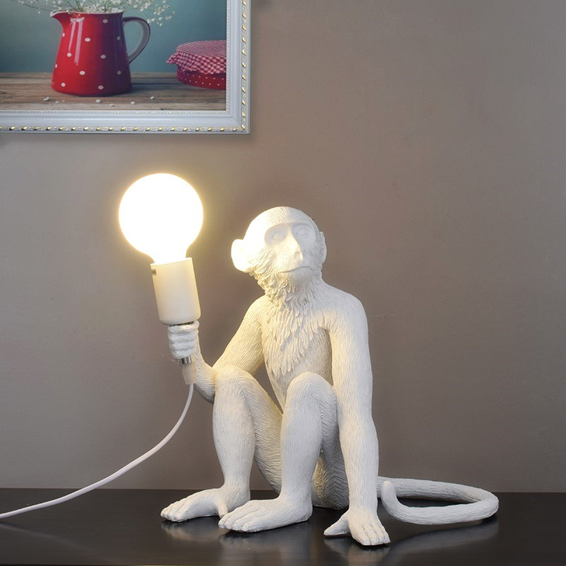 Resina preto branco macaco luz pingente para sala de estar lâmpadas sala estar estudo arte sala luzes led lustre com e27 escurecimento lâmpada led - 5