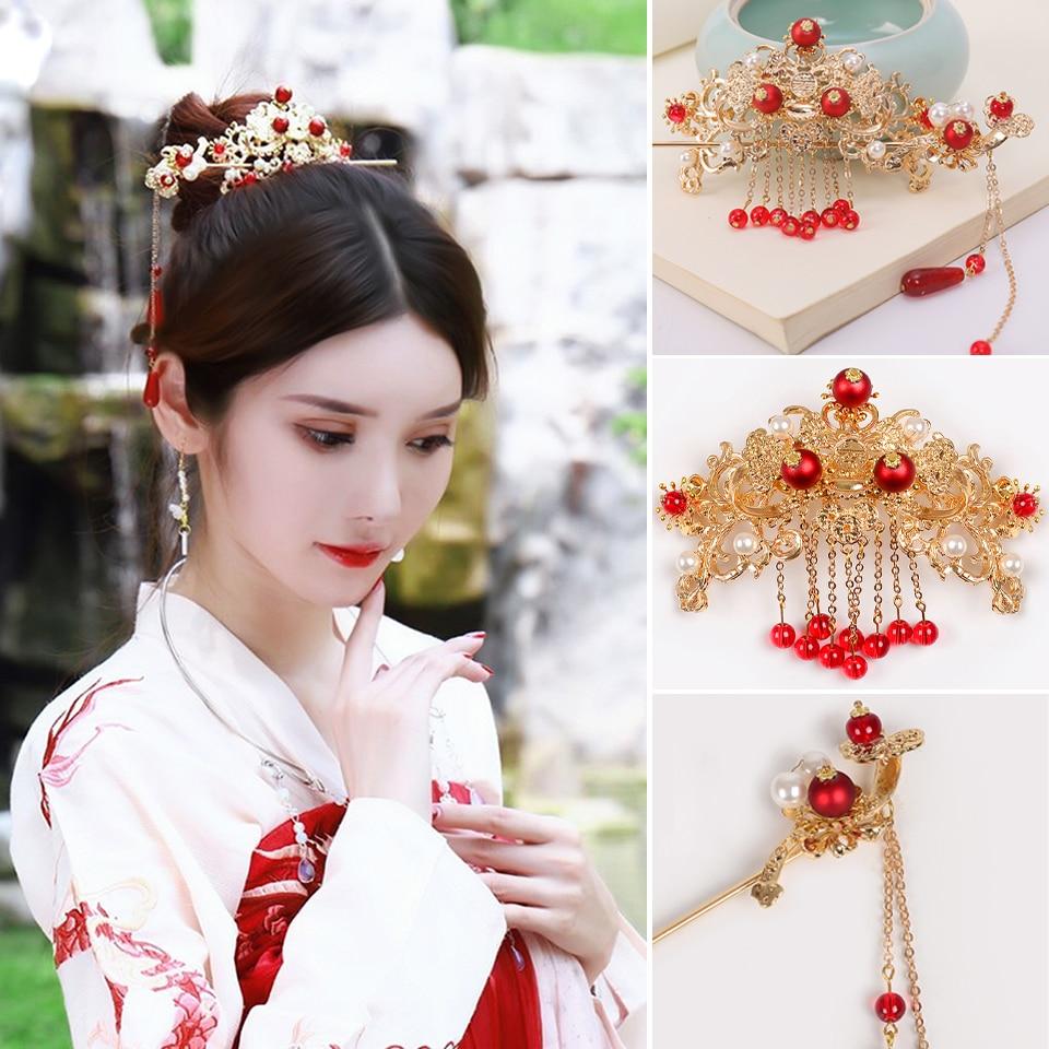 New Antique Styling Retro Chinese Bride Hairpin Han Headdress Wedding Kimono Hanfu Hair Accessories Set