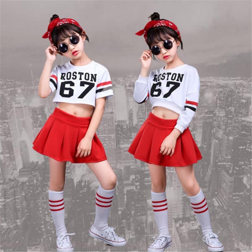Kids Cheerleader Dance Costume School Uniform Gymnastics Skirt For Girls Boy Children Jazz Stage Performance 110-160cm Clothing