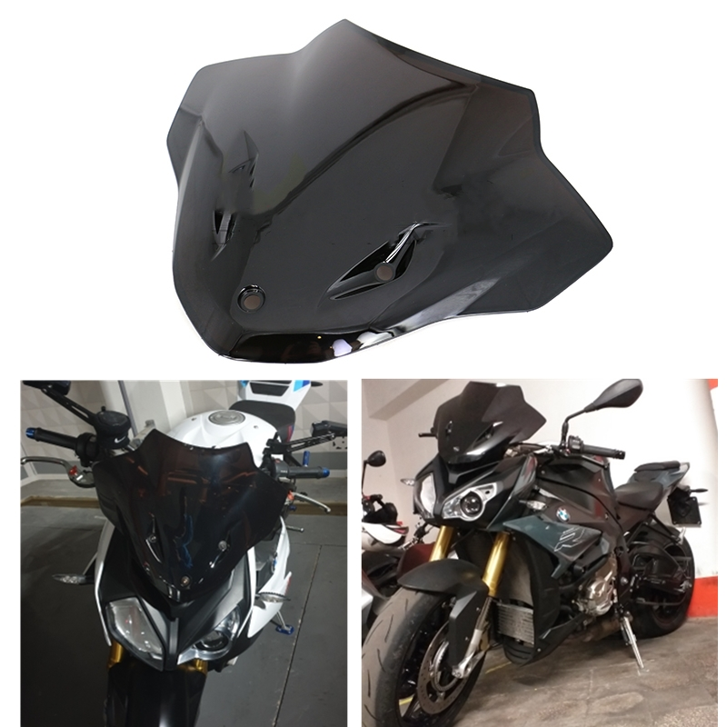 Motorcycle Windshield WindScreen Double Bubble Wind Deflectors For BMW S1000R S 1000R S1000 R 2014 2015 2016 2017 2018 Black