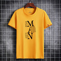 Men`s T-shirt New Arrival 2021 Summer Short Sleeve Cotton T-shirt High Quality Letter Pattern Simple Style Plus Size S - 6XL